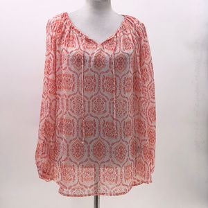 Signature studio sheer popover blouse sz L Large